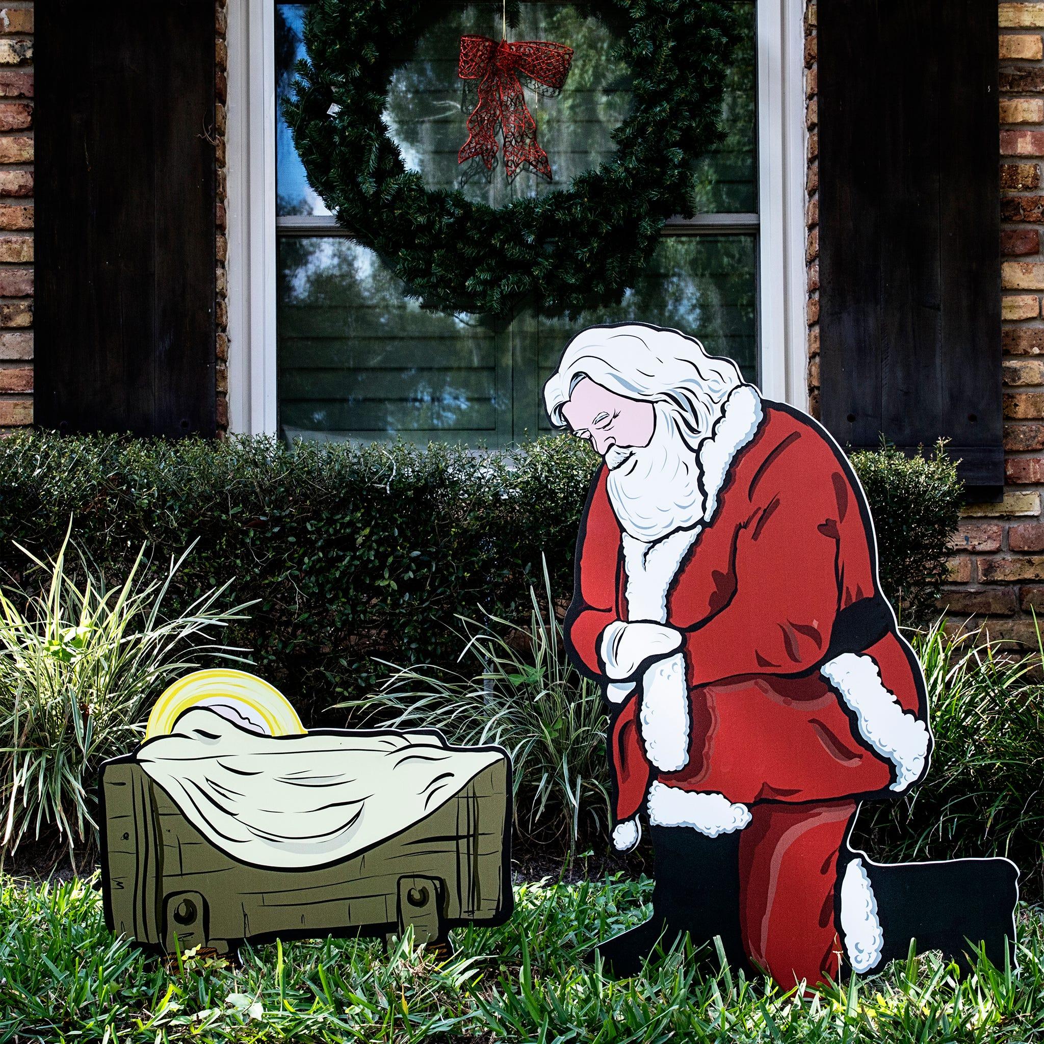 Kneeling Santa Outdoor Nativity Set