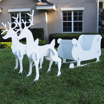 Christmas Sleigh and Reindeer Set - Medium