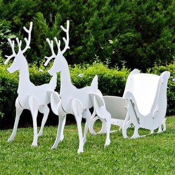 Large Christmas Sleigh and Reindeer Set